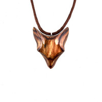 Fox Pendant Necklace, Fox Jewelry, Wooden Fox Pendant, Wood Fox Necklace, Wood Jewelry, Fox Totem Jewelry, Hand Carved Fox Pendant