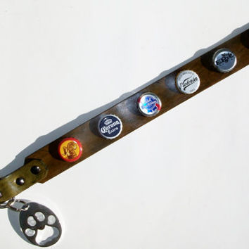 Shiner, Corona, Pabst, Victoria, Epic, Red Stripe beer bottle cap leather dog collar with paw shaped bottle opener.