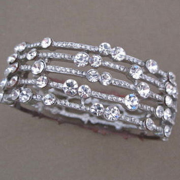 Vintage Rhinestone Hinged Cuff Bangle Bracelet