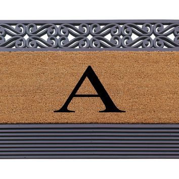 """Rubber and Coir Tray Rosewood Painted 24""""X36"""",Monogrammed Doormat"""