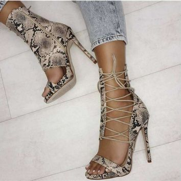 Summer Snake Leather Side Lace-Up Gladiator Sandals Cut-Out Thin Heel Ankle Wrap High Heel Sandals