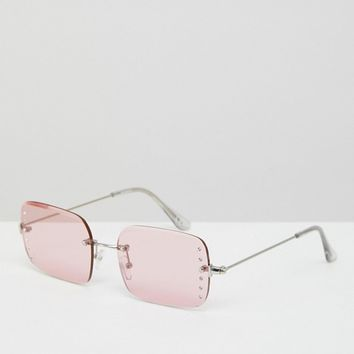 ASOS 90s Rimless Square Fashion Sunglasses With Diamonte Embellishment In Pink at asos.com