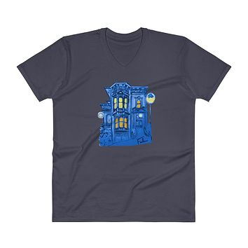 Blue Victorian San Francisco V-Neck T-Shirt by Nathalie Fabri