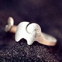Silver Elephant Wrapping Finger Cuff Ring (Adjustable) - LilyFair Jewelry
