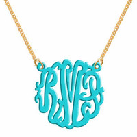 Monogram Necklace Acrylic Turquoise.. on Luulla