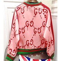 Gucci Fashion Women Personality Graffiti Print Long Sleeve Cardigan Jacket Coat Pink I12502-1