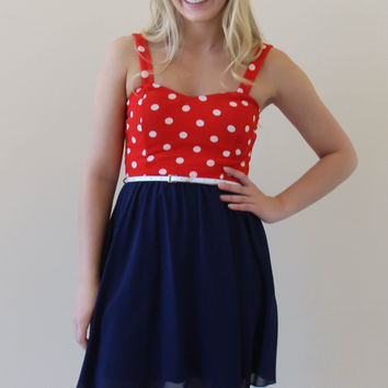 All American Sweetheart Dress - Navy and Red