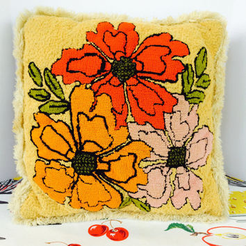 Retro Mod Flower Needlepoint Throw Pillow Orange Pink Red