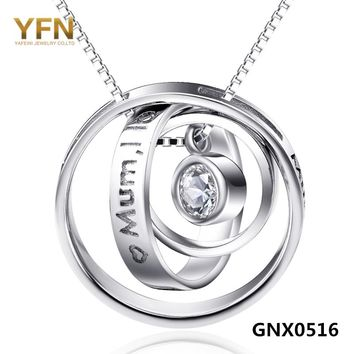 GNX0516 Gneuine 925 Sterling Silver Interlocking Circles Pendant Necklace Fashion Jewelry Collares Mujer Gifts For Mom