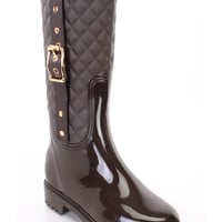 Coffee Stitched Quilted Strappy Rain Boots Rubber