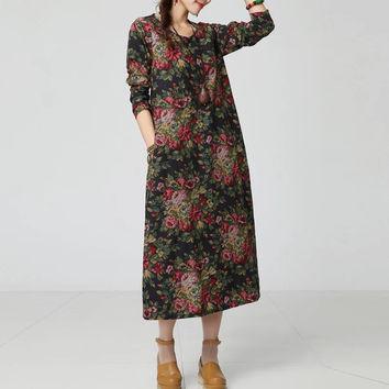Autumn Ethnic Printed Cotton Linen Dress