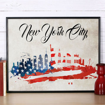 New York skyline New York art NYC print New York painting New York watercolor city watercolor city skyline