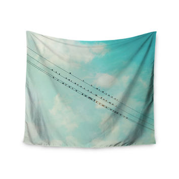 "Sylvia Cook ""Birds on Wires"" Teal Sky Wall Tapestry"