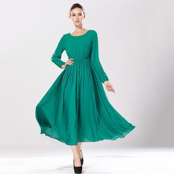 2016 Autumn Winter Natural Chiffon Dresses Elegant Women Casual Dress Long Sleeve O-neck Vestidos Femininos High Waist