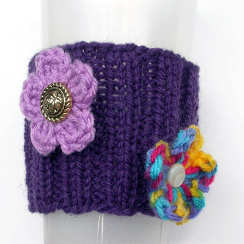 Cup Cozy, Sleeve, Hand Knitted with Flower and Button Embellishments, Purple, Eco Friendly, Accessories, Bottle Cozy, Great Gift