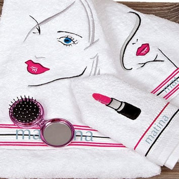 Personalized Women, teens, towel 3pcs set, Luxury cotton embroidered towel set, Special gift, sweet sixteen gift