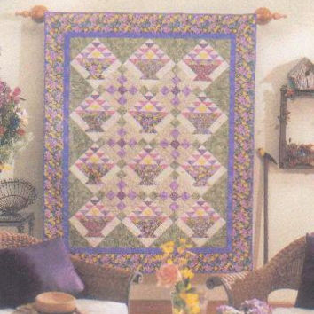 Baskets in Bloom Wall Quilt pattern 58 x 71 inches designed by Kathleen Pappas made from fat quarters