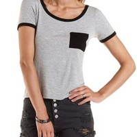 Black Combo Ringer Pocket Tee by Charlotte Russe
