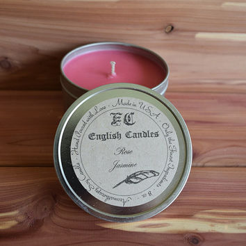Rose Jasmine - Aromatherapy Soy Candle -  Uplifting Floral Aroma - Hand Poured - 8 oz Tin Container - Baby/Bridal Shower Favor - Gift