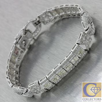Vintage Estate Solid 14k White Gold 4.50ctw Diamond Wide Tennis Bracelet J8