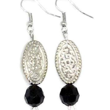 Silver Filigree Style Oval with Black Faceted Round Beaded Earrings