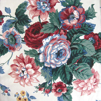 Vintage 1980s Floral Material Waverly Peace Roses Pink Burgundy Screen Print Cotton Fabric Supplies