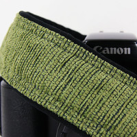 dSLR Camera Strap, Moss Green, Chenille, Canon Nikon Strap, Camera Neck Strap,  Pocket, SLR, 152 ww