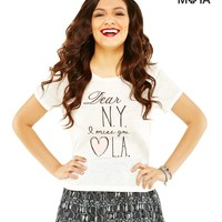 DEAR NY CROPPED GRAPHIC T