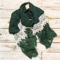 Lace Scarf, Scarves, long, Hunter green / ivory lace | SC3