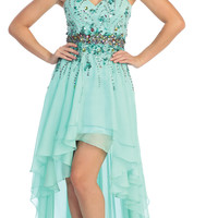 Strapless Sweetheart Floor High Low Dress Prom Gown Plus Sizes Design Rhinestone