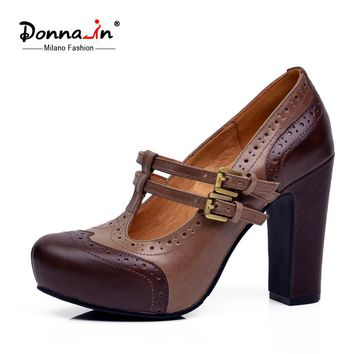 Donna-in 2017 new spring pumps platform high heel women shoes cow leather ladies shoes retro leather classic thick heel shoes