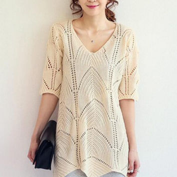 Loose V-neck Hollow out Knit Shirt Blouse Tops