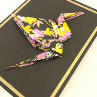 Origami Paper Crane Blank Card, Black and Gold with Pink, White, and Yellow Flowers