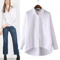 Women's Fashion Long Sleeve White Shirt [5013285124]