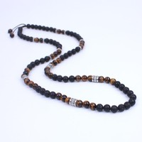 Men Necklace Lava stone and Onyx Energy Beads Shamballa Necklace Stone bead with Ancient silver metal steampunk Jewelry