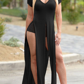 Black High-Slit Longline Top