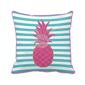 Pineapple With Blue Stripes Throw Pillow Sofa Chair Bed Home Decor Decorative Pillow