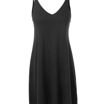 LE3NO Womens Adjustable Strap Sleeveless V Neck Flowy Jersey Tunic Dress