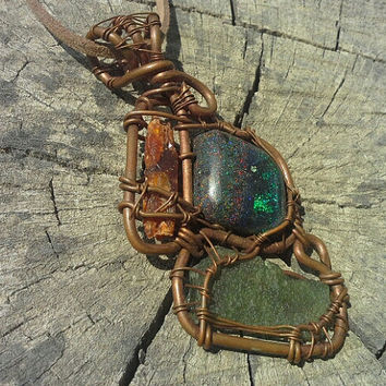 Moldavite orange kyanite fairy opal wire wrap pendant moldavite wire wrapmopal wire wrapped pendant gypsy hippie jewelry,  moldavite pendant