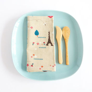 Cotton Linen Napkins. Eiffel Tower. Houses. Cottages. Trees. Whimsical Napkins. Set of Two. Set of 2. French Inspired Decor. Spring Summer.