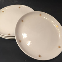 Mid Century Atomic Pattern Plates, Set of 6 Bread Plates, Gold Atomic Star, Nocturne Syracuse China