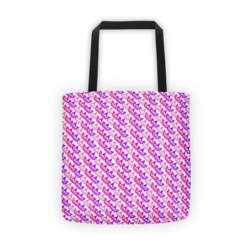 Tri Color Hot Pink/Purple/Red Crown Area Tote bag