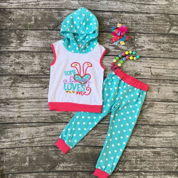 cotton bunny hot pink baby Easter day outfit girls SUMMER pants  clothes sleeveless boutique hooded with matching Accessories