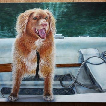 CUSTOM PET PORTRAITS Realistic Acrylic Painting on Canvas (Submit Your Photo) - Personalized pet paintings dog portraits in color