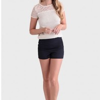 Tidepools Button Detail Shorts In Navy