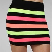 Black Neon Banded Skirt
