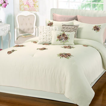 Rosetta Floral Bouquet Applique Beige 5 Piece Embroidery Comforter Bed In A Bag Set