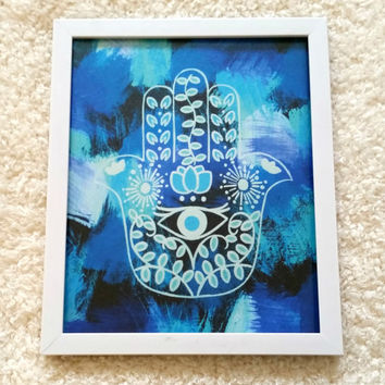 Bohemian hamsa hand 8.5 x 11 inch art print poster for bed room, dorm room, office, or home decor