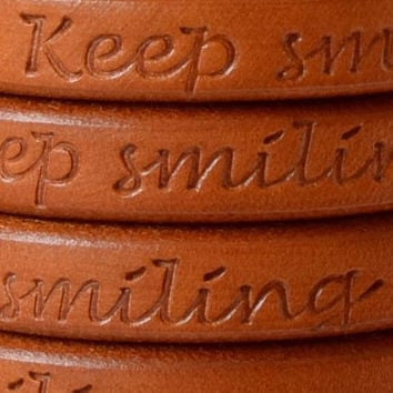 Keep smiling light brown licorice leather, bracelet, leather supplies