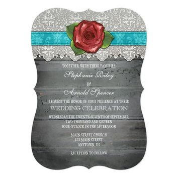 Turquoise Gray Rustic Wood Rose Wedding Invite